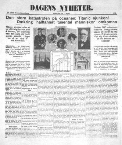 Bild av Dagens Nyheters framsida den 17 april 1912