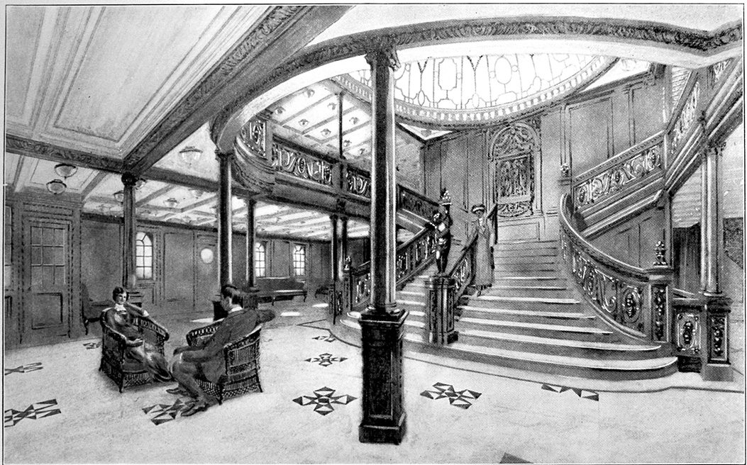 """Teckning av """"The Grand staircase"""" ombord Titanic från broschyr för skeppet från 1912 (dekorativ bild)"""