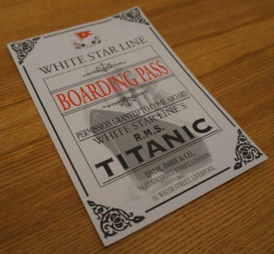 Bild av Titanics boarding pass (dekorativ bild)